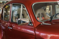 Recycle retro collectible red car. Side view Royalty Free Stock Image