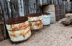 Recycle and reuse old oil tank. stock photography