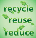 Recycle, Reuse, Reduce Leafy Words. Leafy words; recycle, reuse, reduce Stock Photos