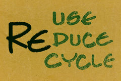 Recycle-Reuse-Reduce text on recycled paper. Recycle-Reuse-Reduce text on blank grunge recycled paper texture.Save the world concept Royalty Free Stock Images