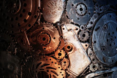 Recycle rough metal cogwheel texture background Royalty Free Stock Images