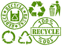 Recycle rubber stamps. Rubber stamps of recycle, reuse and reduce royalty free illustration