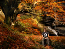Recycle and Save the word. Environmentaly friendly Autumn scene, man with a recycle t shirt Stock Photography