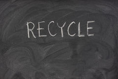 Recycle on a school blackboard stock photography