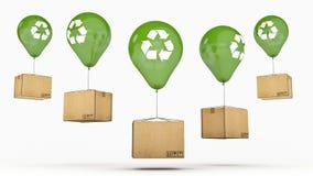 Recycle se connectent un ballon et un carton brillants verts Photo stock