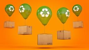 Recycle se connectent un ballon et un carton brillants verts Image libre de droits