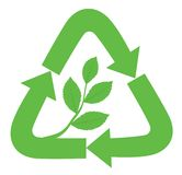 Recycle sign. With branch and leaves inside as a symbol of nature, ecology and new life Stock Images