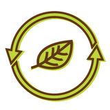 Recycle sign. With leaf inside Royalty Free Stock Images