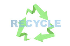 Recycle sign. Created with arrow origami paper texture style Stock Photos