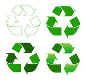 Recycle sign. Set of recycle sign on white Stock Photos
