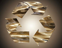 Recycle sign in abstract bronze on vignette background Royalty Free Stock Photos