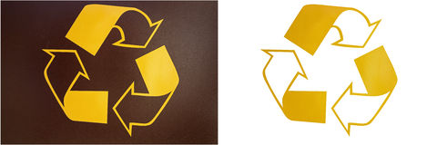 Recycle sign arrows isolated white background collage Stock Image