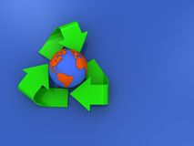 Recycle sign background. 3d illustration of 3d recycle sign over blue background Royalty Free Stock Photo