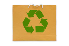 Recycle sign on brown paper bag Stock Images
