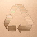 Recycle sign on a cardboard Stock Photography