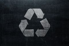 Recycle sign on chalkboard isolated on blackboard texture with c stock photo