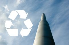 Recycle sign with chimney Royalty Free Stock Photos