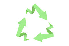Recycle sign created with arrow origami paper text. Ure style on white background Royalty Free Stock Photos