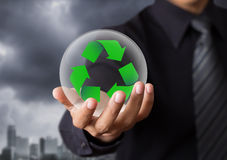 Recycle sign in crystal ball Royalty Free Stock Images