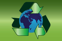 Recycle sign with earth Royalty Free Stock Images