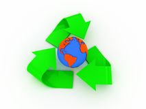 Recycle sign and earth Royalty Free Stock Images
