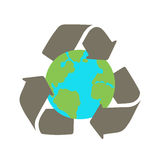 Recycle sign and Earth. Royalty Free Stock Images