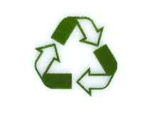 Recycle sign with grass. 3d illustration royalty free illustration