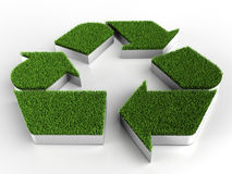 Recycle sign with grass. Computer generated image (3d render stock illustration