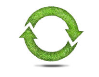 Recycle sign with grass isolated. On white background vector illustration