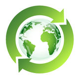 Recycle sign with green globe Royalty Free Stock Images