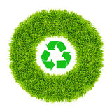 Recycle sign in green grass circle Royalty Free Stock Photography