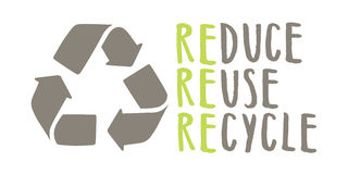 Recycle sign and hand drawn lettering. Vector isolated on white Stock Photo