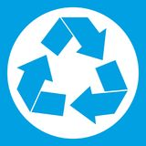 Recycle sign icon white. Recycle sign in simple style isolated on white background vector illustration Stock Image
