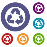Recycle sign icons set. Recycle sign in simple style isolated on white background vector illustration Royalty Free Stock Image