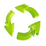 Recycle sign isolated. Green glossy shark-like Recycle sign isolated on white stock illustration