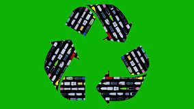 Recycle sign made of plastic bottles moving in rows - reuse concept