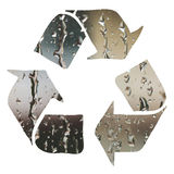 Recycle sign made with water droplets Royalty Free Stock Photo