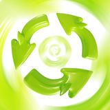 Recycle sign in motion. Green glossy shark-like Recycle sign in motion royalty free illustration