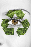 Recycle sign painted on face, eco concept Royalty Free Stock Image