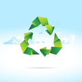 Recycle sign of paper - origami Stock Photos