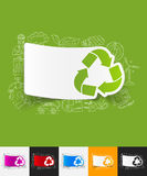 Recycle sign paper sticker with hand drawn. Hand drawn simple elements with recycle sign paper sticker shadow Royalty Free Stock Photography