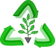 Recycle sign and plant Stock Photos