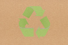 Recycle sign on recycled paper background Royalty Free Stock Images