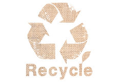 Recycle Sign With Sackcloth Texture. Stock Image