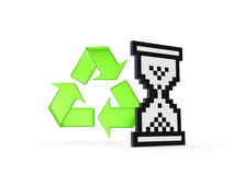 Recycle sign and sandglass icon. Royalty Free Stock Images
