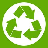 Recycle sign icon green. Recycle sign in simple style isolated on white background vector illustration Royalty Free Stock Image