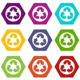 Recycle sign icon set color hexahedron. Recycle sign in simple style isolated on white background vector illustration Stock Photography