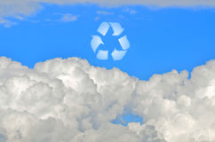 Recycle sign in the sky Stock Photography