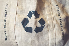 Recycle sign Symbol on Eco Shopping bag Environmental friendly Stock Image