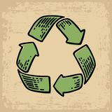 Recycle sign. Vintage vector engraving illustration for web, icons.  on beige old paper background. For eco environments Stock Photo
